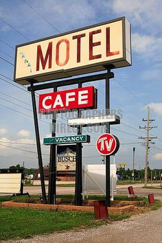 Canal Motel and Cafe sign, Route 66 , Mitchell,  Illinois
