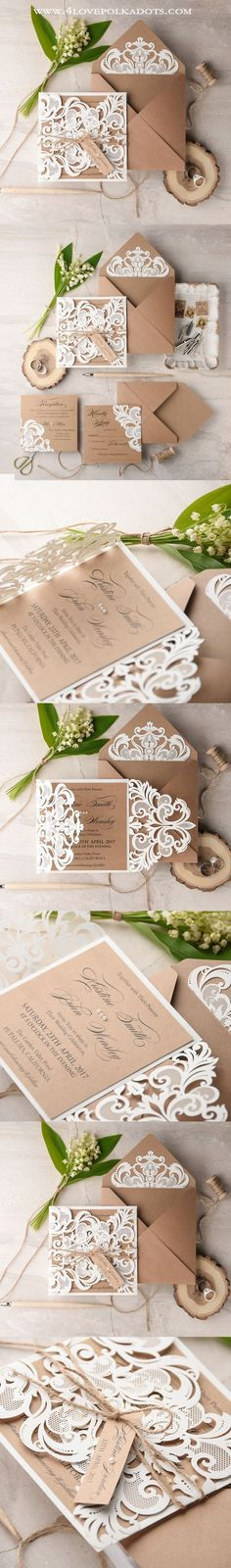 Laser cut Wedding Invitations || @4LOVEPolkaDots