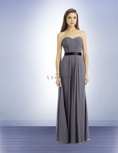 Bill Levkoff Bridesmaid Style 748 is a Satin Chiffon strapless gown with a soft sweetheart neckline vertical ruching with horizontal front pleats. Ribbon tie accents the waist. Back zipper.