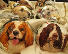 Hand-painted Dog and Cat Holiday Ornament Balls at PawsPetBoutique.com | Holiday Ball Painted from Photo
