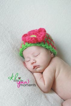 Bright Pink and Lime Green Striped hat with removable Flower- 3-6 Mon Photo Prop Hat Beanie - You pick colors SALE. $11.99, via Etsy.