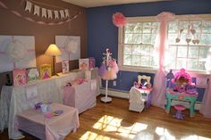 Ballerina birthday party, like the gift wrapped art/decor on wall