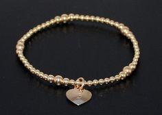 14K gold fill beaded heart bracelet by BelindaCarmichaelSJ on Etsy