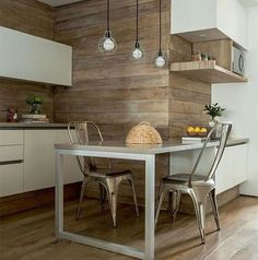 Wood and white kitchen, back wall