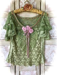 Rustic Seaweed Green Mermaid Top Drop Sleeves Open Shoulders Ribbon Roses and Lace by IzzyRoo on Etsy