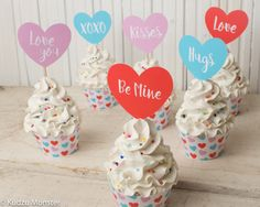 Valentines Cupcake wrappers and cupcake toppers for Valentine's day party printable hearts and patterned cupcake holders DIY decor