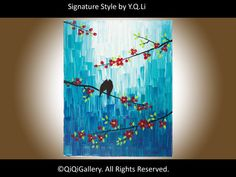Blue Abstract Landscape Painting Birds Tree by QiQiGallery on Etsy