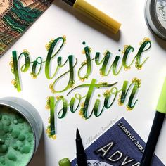 """2,176 Likes, 35 Comments - Alisse Courter (@alissecourter) on Instagram: """"Polyjuice potion for #hplettering with @amandakammarada and @calligraphynerd ✨✨ #polyjuicepotion…"""""""