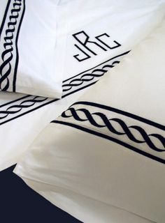 Embroidered Bed Linens-Pacific Chain Embroidered Bedding-Luxury Monogram Sheets