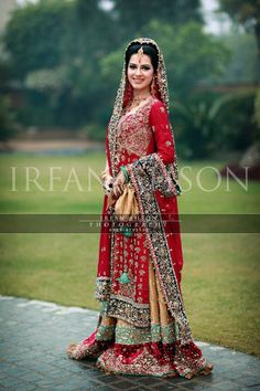 traditional pakistani bride red lehnga