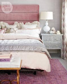 I'm feeling like giving myself a bedroom makeover. I love my lilac and gold bedroom, but I am getting restless and want to change up the vibe. The moment I saw this bedroom I found on Style at Home, I stopped and decided to put together a little shopping board for this look. I want to call it a romantic modern bedroom glamour. pink modern bedroom Shop it:pink bed / beaded chandelierwhite lamp/ bone inlay side table / pink overdyed rug/ gold greek key bench/ coral accents/ grey grasscloth…