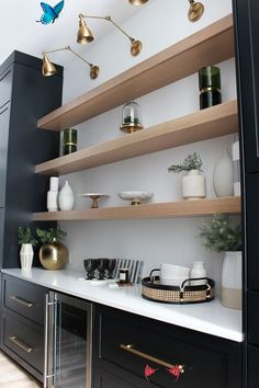 cuisine The Forest Modern: Our Chic Black Butler's Pantry - The House of Silver Lining - Home Decor #cuisine #decoration #decorationcuisine<br> Neutral Cabinets, Grey Cabinets, Clever Design, Cool Designs, Lily Ann Cabinets, 3d Kitchen Design, Cabinet Paint Colors, Small Kitchen Storage, Custom Shades