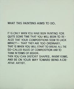 John Baldessari, What This Painting Aims to Do, 1967