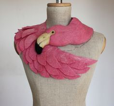 Items similar to Pink Flamingo - pale version - felted wool animal scarf on Etsy Flamingo Art, Pink Flamingos, Flamingo Dress, Sleeping Fox, Modern Tattoos, Baby Mobile, Creation Couture, Animal Heads, Wool Felt