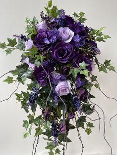 Purple lavender cascading bouquet with English ivory and twigs Purple Wedding Bouquets, Wedding Flowers, Cascade Bouquet, Floral Wreath, Lavender, Ivory, English, Wreaths, Floral Crown