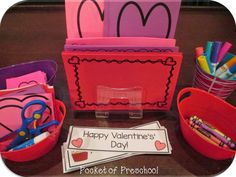 Valentine's Day create a valentine station with writing paper, hearts to cut out, valentine's word cards & phases, crayons, markers, and glue!  Pocket of Preschool