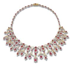 A RUBY AND DIAMOND FRINGE NECKLACE