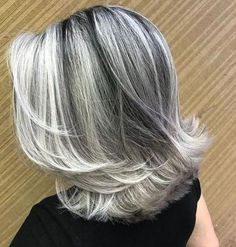 frosted hair for gray hair Grey Hair At 25, Long Gray Hair, Silver Grey Hair, Grey Hair Dye, Dyed Hair, Medium Hair Styles, Short Hair Styles, Grey Hair Styles, Frosted Hair