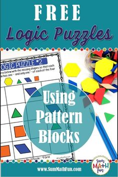 Grab These Free Logic Puzzles! Your kids will love these free logic puzzles using pattern blocks!These puzzles build motivation and … Critical Thinking Activities, Critical Thinking Skills, Math Logic Puzzles, Logic Problems, Math Problem Solving, Classroom Freebies, Free Teaching Resources, Math Workshop