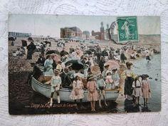 Antique French tinted photo-postcard,Dieppe La Plage devant le Casino/Beach 1910 France, Antique, Beach, People, Painting, Vintage, Art, The Beach, Art Background