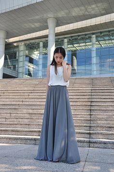 High Waist Maxi Skirt Chiffon Silk Skirts Beautiful Bow Tie Elastic Waist Summer Skirt Floor Length Long Skirt (037), #63