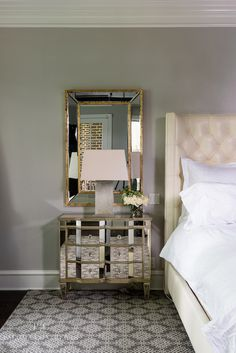 Paloma Contreras - bedrooms - Crescent Table Lamp, mirror over nightstand, mirror above nightstand, gold trimmed mirror, gold leafed mirror,...