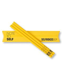 Selfridges 'Note to Self' pencils - there's a matching notebook too! Yellow Shop, Big Yellow, Custom Pencils, Home Tech, Selfridges & Co, School Stationery, Too Cool For School, Stationary, Office Supplies