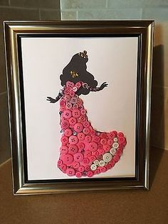Disney Sleeping Beauty Inspired Aurora Silhouette Button Art In Frame. MTO