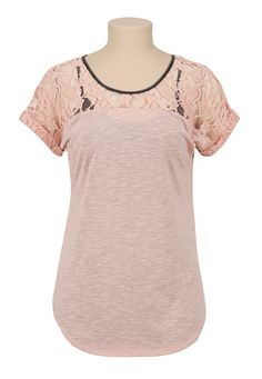 Contrast Trim Button Back Lace Top available at #Maurices