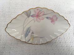 Mikasa Edens Garden Bone China Relish Dish, B2090, Diamond Shaped Relish Dish, Floral Relish Dish, Scalloped Rim, Gold Trim, 1990s