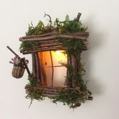 fairy garden ideas Fairy Window with Delicate Twinkling Light ~ Handcrafted by Olive Fairy Accessories, Fairy House, Fairy Door Fairy Garden Furniture, Fairy Garden Houses, Fairy Gardening, Gnome Garden, Gardening Tips, Fairy Crafts, Garden Crafts, Deco Nature, Fairy Tree