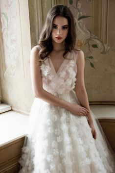 Daalarna Couture Wedding Dress with small tulle flowers_Belle Collection