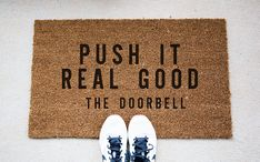 Hey, I found this really awesome Etsy listing at https://www.etsy.com/listing/280030518/doorbell-quote-doormat-funny-doormat