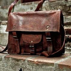 """Leather Satchel with Pocket – Blue Lining – 14.5"""""""
