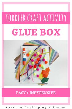 How to Keep Your Toddler Busy With a Cheap Glue Craft Box. Great DIY toddler craft activity that is easy and inexpensive to put together. G Everyone's Sleeping but Mom Montessori Toddler, Montessori Activities, Toddler Learning, Toddler Preschool, Toddler Crafts, Craft Activities, Preschool Crafts, Crafts For Kids, Alphabet For Toddlers