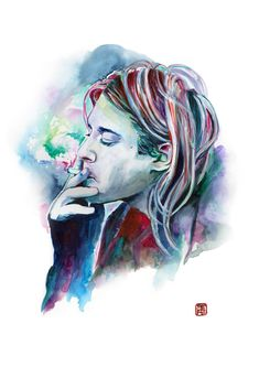 Kurt Cobain watercolor portrait  by Ses Caniques