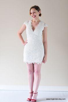 Teresa-City Bride-Custom V neck Cap Sleeves Short Lace Wedding dress Gown-detachable skirt can be added. $500,00, via Etsy. 2 Piece Wedding Dress, Short Lace Wedding Dress, Dream Wedding Dresses, Lace Dress, White Dress, Long Chiffon Skirt, Gowns, Bride, Trending Outfits