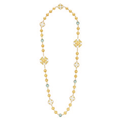 """Chanel - Les Perles de Chanel - """"San Marco"""" necklace in yellow gold set with 736 brilliant-cut diamonds with a total weight of 8.7 carats, 28 yellow sapphires with a total weight of 17.3 carats, 40 cultured South Sea pearls from 9.3 to 14mm in diameter, 5 Tahitian pearls 12mm in diameter and 25 cultured Japanese pearls"""