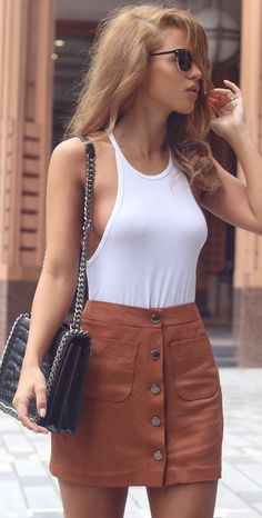 Rust Button Suede Skirt Outfit Idea by Nada Adellè