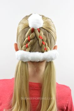Can't wear a hat to school?  Try a darling Santa Hat Hairstyle from BabesInHairland.com instead! #santa #christmas #hairstyle #christmashairstyle #santahat