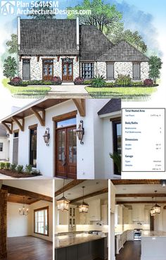 Architectural Designs Acadian House Plan 56414SM built with beautiful timers on the inside as well as timber accents on the outside.