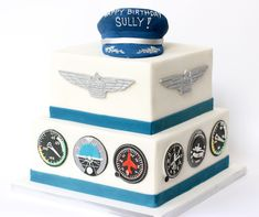 Aviation Cake for Captain Sully by cap, wings, and instrument panel Airplane Birthday Cakes, Dad Birthday Cakes, Airplane Cakes, Airplane Party, Cake Icing, Cupcake Cakes, Cupcakes, Aviation Theme, Vintage Tea Parties