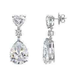 Heart and drop shaped diamond earrings.
