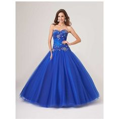 Princess Ball Gown Royal Blue Tulle Lace Beaded Corset Dress