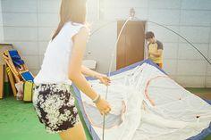 옥상에 텐트 치기