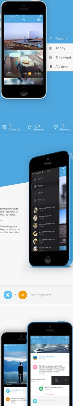 the way that the title/creator and like/starred information is displayed on the images. also, the way the active page in the menu has that horizontal coloured line for indication Mobile Ui Design, App Ui Design, User Interface Design, App Design Inspiration, User Experience Design, Mobile App, Iphone App, Ui Ux, Ties