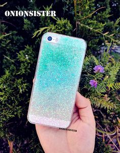 Gradient Green Blue Resin Sparkle Cute Resin Glitter iPhone Case PC Phone Case iPhone case 5 / 5s / SE iPhone 6 6s / 6 Plus by OnionSister on Etsy