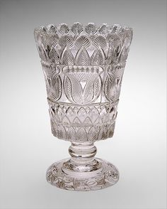 Celery vase, attributed to Boston & Sandwich Glass Company, ca. 1830, American, pressed glass. Metropolitan Museum of Art.