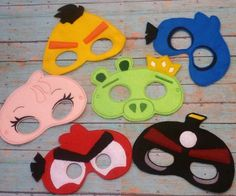 Mad Birds and Pig Masks Red Yellow Blue Pink Black by EODdesign