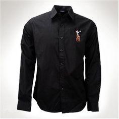 Ralph Lauren Men Big Pony Black Collar Shirts  http://www.ralph-laurenoutlet.com/